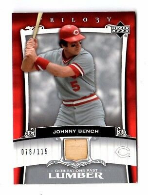 Johnny Bench Mlb 2005 Upper Deck Trilogy Generations Past Lumber Silver (Reds)
