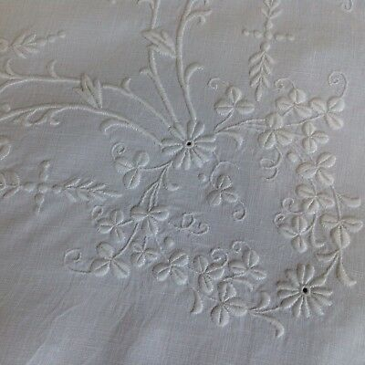 ANTIQUE Irish Linen Butlers Table Centre Tray Cloth WHITEWORK Floral  Embroidery