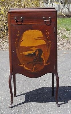 Antique Inlaid ART NOUVEAU Music Cabinet Beautiful Woman Face Galle Style PICKUP