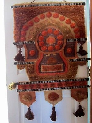 """VINTAGE 1970's DON FREEDMAN Textile Art Wall Hanging (26"""" x 42"""") Mod Tapestry"""