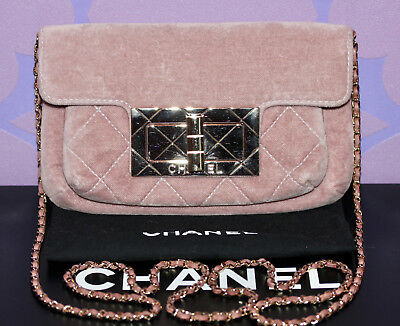 CHANEL 2.55 REISSUE Crossbody Chain Mademoiselle Clutch  VELVET VELOUR  Flap  Bag 1b3b8b62a5