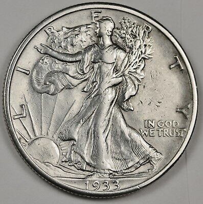 1933-s Walking Liberty Half.  A.U.  125778