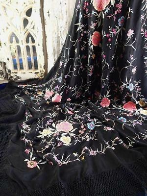 """Glorious! Early Embroidered Roses Antique Silk Shawl 68 x 66"""" Manton Excellent"""