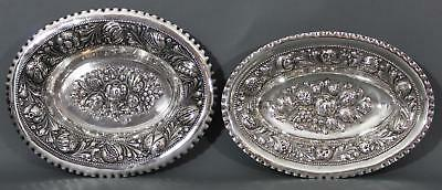 2 Antique 19thC Victorian, German 800 Silver, Repousse Hand Chased Fruit Bowls