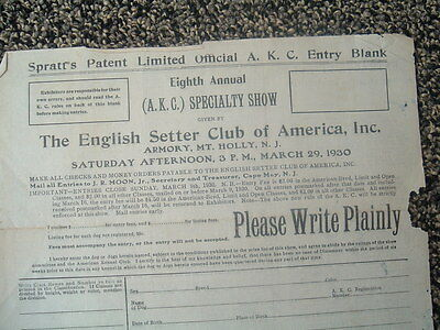 1930 The English Setter Club of America/Official Entry document/Mt.Holly,N.J.
