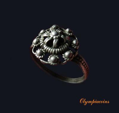 ** EXCELLENT **BYZANTINE or MEDIEVAL SILVER  ring ** CROWN **