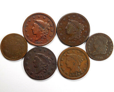 1821 - 1867 Matron Head Large Cent & Two Cent Coin Lot