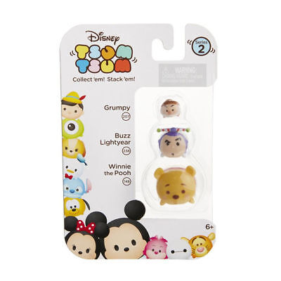 DISNEY 3pc Set TSUM TSUM Figures GRUMPY 207+BUZZ 238+WINNIE 148 Series 2 COLLECT