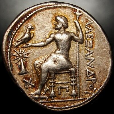 ALEXANDER THE GREAT.Magnificent Rainbow Iridescent Tetradrachm.STAR over Pyramid