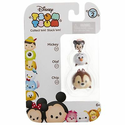 DISNEY 3pc Set TSUM TSUM Figure MICKEY 101+OLAF 177+CHIP 221 Series 2 COLLECT