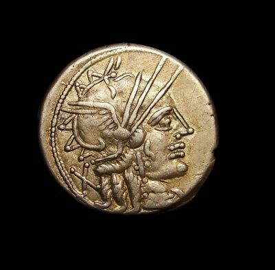 M. Carbo. Light Gold iridescent tone denarius. Rare as such. Roman silver coin.