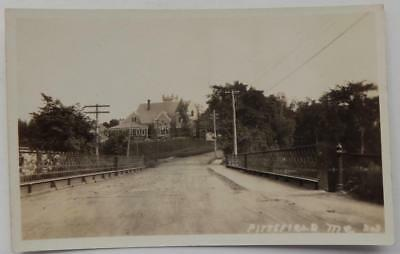 Antique Real Photo Postcard Pittsfield Maine ME Bridge