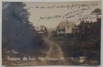 Antique Real Photo Postcard Cottages Norht Side New Harbor Maine ME Dirt Path
