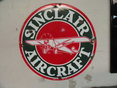 Vintage 12 Sinclair Aircraft  Pump Plate Gas Oil Porcelain Signs   Old Sign