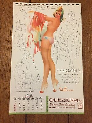 """WITHERS """"south of the rio grande""""  COLOMBIA  apr 1959  PIN-UP   SKETCHBOOK page"""