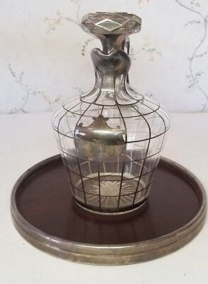 Antique Alvin Sterling Silver Overlay Pitcher Decanter & Mahogany Serving Tray