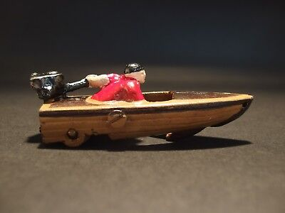 Antique Vintage Style Mini Cast Iron Boat Racer Pull Toy