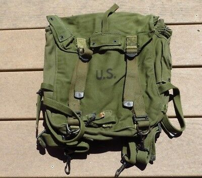 WW2 US Army Military M1945 Field Pack Backpack Upper w/ Suspenders