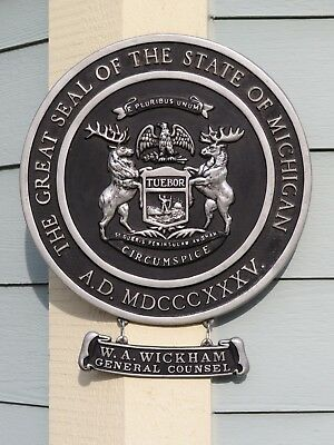 Vintage 1960's The GREAT STATE of MICHIGAN State Capital SEAL Metal Sign SUPERB!