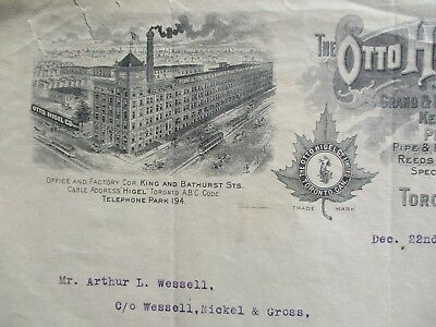 1911 Otto Higel signed Pipe Organ,Reed,Piano Supply MFG.,GRAPHIC Canada letter!