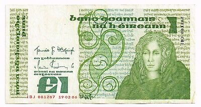 1986 IRELAND ONE POUND NOTE - p70c