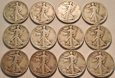Lot of (12) Walking Liberty Half Dollars 1917 S Obverse 1919 S 1921 S Silver 50C