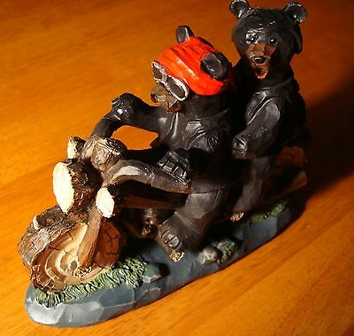 BLACK BEAR DOUBLE BIKER Motorcycle Riders Figurine Faux Carved Statue Decor NEW