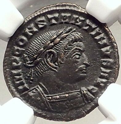 CONSTANTINE the GREAT Authentic Ancient 314AD Lyons Roman Coin SOL NGC i69603