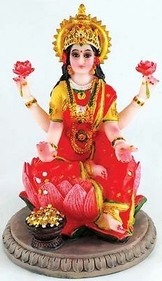 Goddess Laxmi LAKSHMI Lotus Blossom STATUE Figurine Hindu Puja INDIA Mythology
