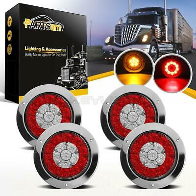 """4pcs 4"""" inch Round 16 LED Truck Trailer Lorry Brake Stop/Turn Signal/Tail Lights"""