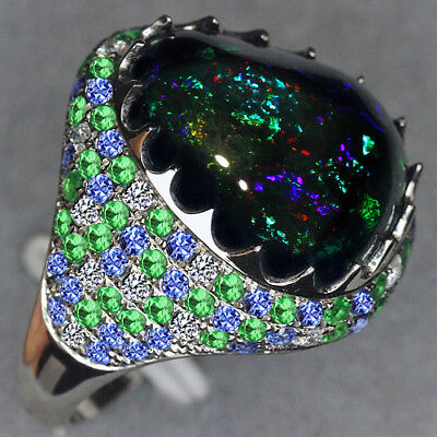 10.65CT 100% Natural 14K Gold Black Opal Sapphire Tsavorite Diamond Ring CHPN1