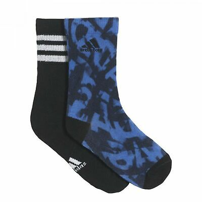 adidas 2 Pack Boy's Graphic Ankle Sport Socks 3 Stripes Graphic Long Black