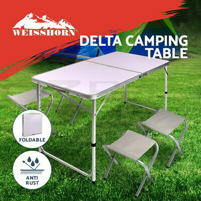 Folding Camping Table + 4 Portable Chairs Set Picnic Outdoor Garden BBQ Setting