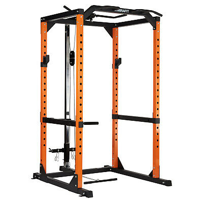 Mirafit M2 360kg Heavy Duty Olympic Power Cage/Squat Rack & Cable Pull Down/Curl
