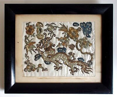 Fine antique Chinese framed silk embroidered dragon with gold threads