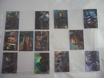 Lord of the Rings TFoTR Prismatic 1-10 & 2 Promo Trading Cards Set