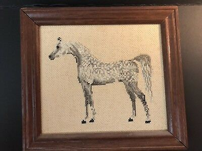 Gray Arabian Horse Vintage Needlepoint