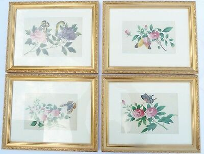 Four Antique Chinese Gouache Rice Paper Watercolour Paintings ca 1850