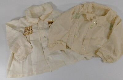 Adorable Pair of Vintage/Antique Silk Childs Shirts with Smocking