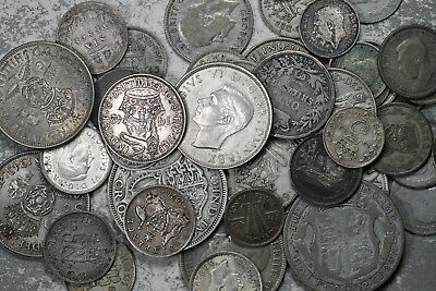 Lot of 39 Great Britain and 4 Australia Silver Coins - 1865-1945