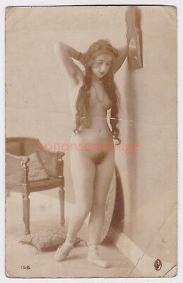 France Erotic Risque Naked Nude Woman Deshabille 158 Real Photo Postcard - Nu99