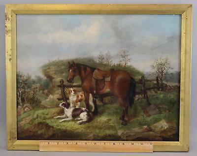 19thC Antique Oil Painting English Hunters Horse & Springer Spaniel Hunting Dogs
