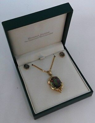 ERNEST JONES 9ct Gold & Mystic Topaz Earring and Necklace Set (035)