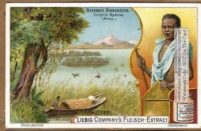 Native At Lake Victoria Kenya Africa Boat Hunter 1900 Trade Ad Card