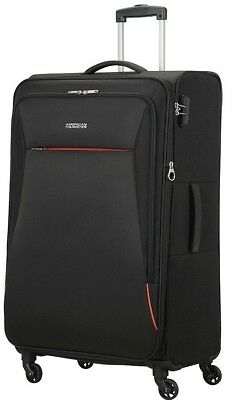NEW American Tourister Rally Large 4 Wheel Soft Shell Suitcase - Black