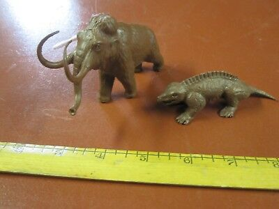 Marx creamy brown dinosaur models Woolly Mammoth and Sphenacoden