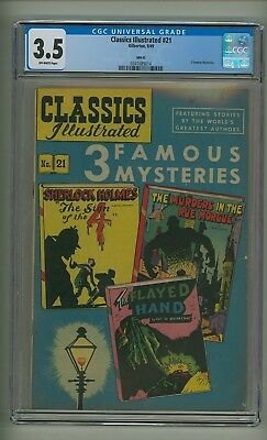 Classics Illustrated 21 HRN 62 (CGC 3.5) C-O/W pgs; 3 Famous Mysteries (c#18977)