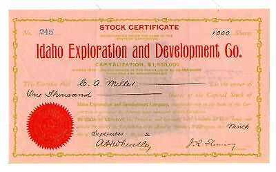 Idaho Exploration and Development Co., 1902 Issued Stock Certificate