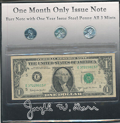 Us 1963-B One Dollar Barr Note With One Year Issue Steel Penny All 3 Mints