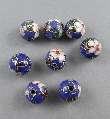 10mm Lapis blue Cloisonne floral beads with Brass/copper-6 pieces